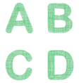 Green fabric font set - letters A B C D vector image vector image