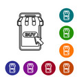 grey mobile phone and shopping cart with striped vector image vector image