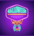 halloween neon frame with web spider vector image