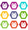 hand heart icons set 9 vector image