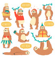 hanging sloths wild tropical animal characters vector image vector image