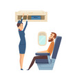 happy stewardess character passenger in airplane vector image vector image