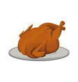 hot baked roasted chicken on plate fast food vector image vector image