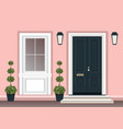 house door front with doorstep and steps porch vector image vector image