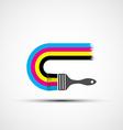 logo cmyk rainbow and paint brush vector image