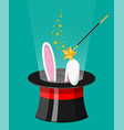 magic hat with easter bunny ears and wizard wand vector image