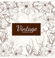 magnolia flower brown sepia outline greeting card vector image vector image