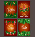 merry christmas poster with pine tree branches vector image vector image