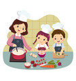 mother and children cooking at kitchen vector image vector image