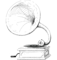 old gramophone sketch vector image