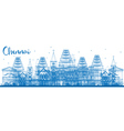 Outline Chennai Skyline with Blue Landmarks vector image vector image