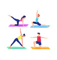 people doing yoga poses vector image