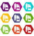 pneumatic hammer machine icon set color hexahedron vector image vector image