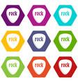 rock stone icon set color hexahedron vector image vector image