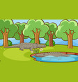 scene with crocodiles in park vector image