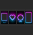 set neon templates for stories on social vector image
