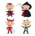 set of cute cartoon children in colorful vector image
