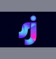 sj s j spink blue gradient alphabet letter vector image vector image