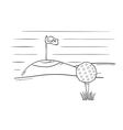 sketch of the golf ball and flag vector image