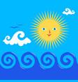 sun and wavy sea vector image