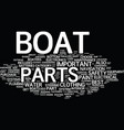 the most important boat parts text background vector image vector image