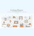thin line art living room poster banner vector image vector image