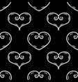 tile pattern with white hearts on black background vector image