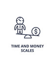 time and money scales line icon outline sign vector image vector image