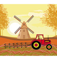 Tractor plowing field in autumn vector image