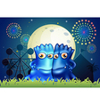 Two blue monsters holding each other at the park vector image vector image