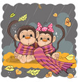 two monkeys in a scarf vector image vector image