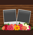 two photoframes with flowers on wooden board vector image vector image