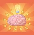 brain and ligh bulb as idea concept vector image