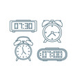 alarm clocks icons thin line style vector image vector image