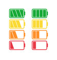 battery icon set isolated on white background vector image vector image