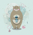 bear with fish in scandinavian style vector image