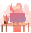 beautiful arabic business woman working on vector image vector image