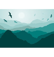 Birds Flying Over Mountains Backdrop vector image vector image