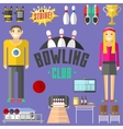 Bowling symbols set vector image vector image