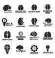 brain logo set simple style vector image vector image