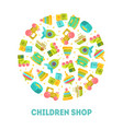 children shop banner template with cute toys in vector image vector image