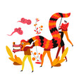 chinese new year festival dragon dance vector image