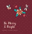 christmas cute bee flower cartoon greeting card vector image vector image