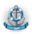 coast guard day greeting card nautical emblem vector image vector image
