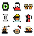 coffee related icon set filled stye vector image vector image
