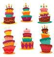 collection colourful birthday cakes vector image