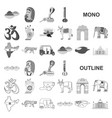 country india monochrom icons in set collection vector image