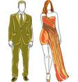drawn man and woman vector image vector image