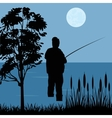 Fisherman goes fishing vector image vector image