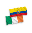 flags ireland and ecuador on a white background vector image